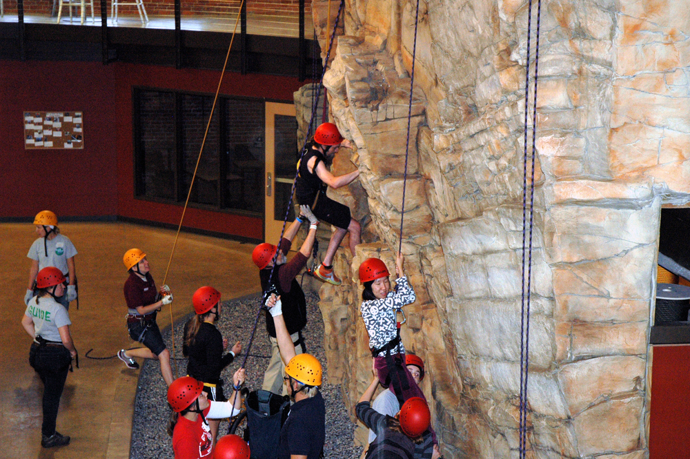 People of all abilities were able to try different activities, like the rock climbing wall.
