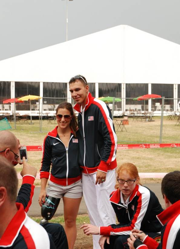 Lacey with fellow athletes at the 2013 World Champs Opening Ceremony.